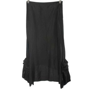 LM LULU Black Bustled Asymmetrical Maxi Skirt